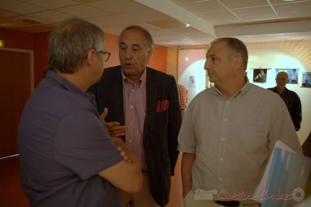 Richard Raducanu, Francis Delcros, Maire de Latresne, Jean-Philippe Guillemot. Festival JAZZ360 2015, médiathèque de Latresne. 28/05/2015