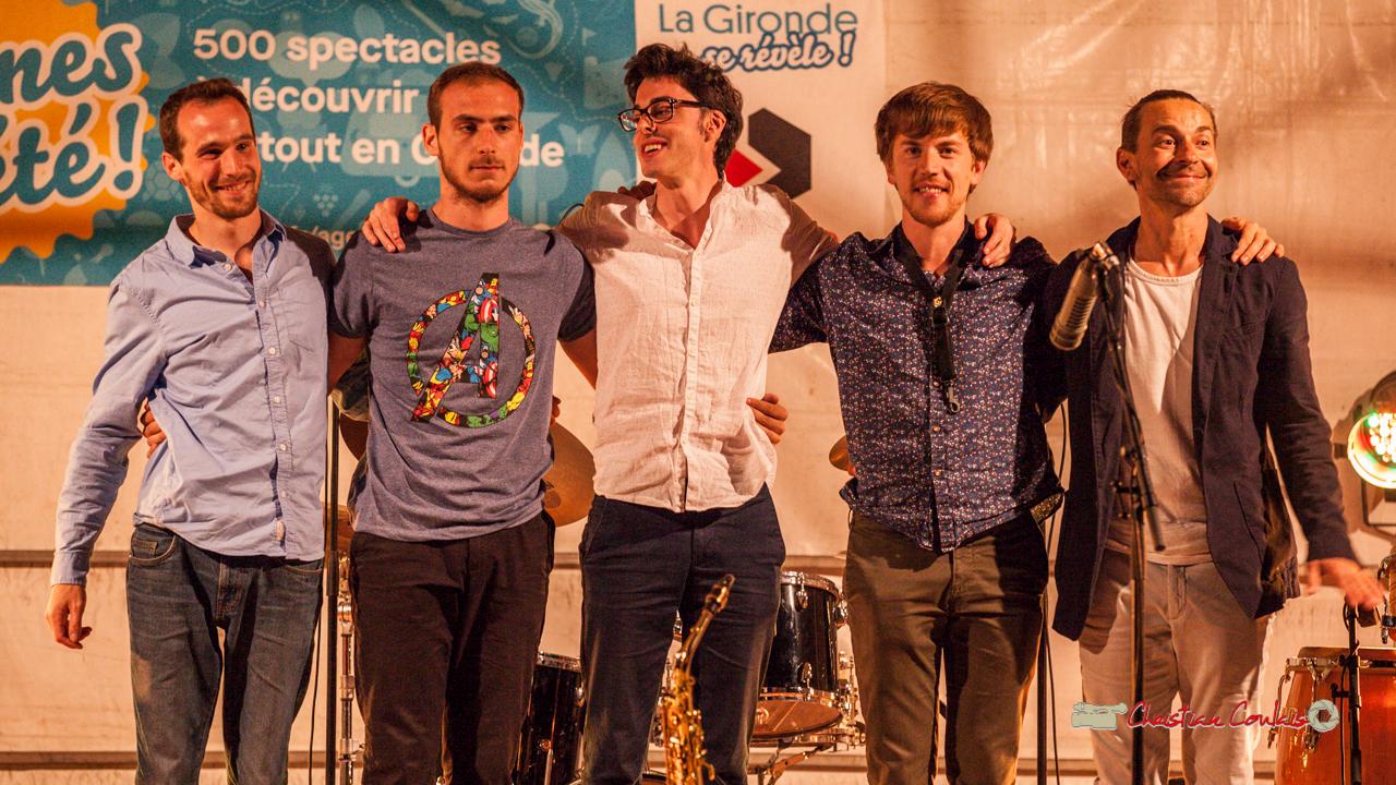 Félix Joveniaux, Romann Dauneau, Adrien Brandéis, Joachim Poutaraud, Philippe Ciminato; Adrien Brandéis Quintet, Festival JAZZ360 2019, Langoiran. 06/06/2019