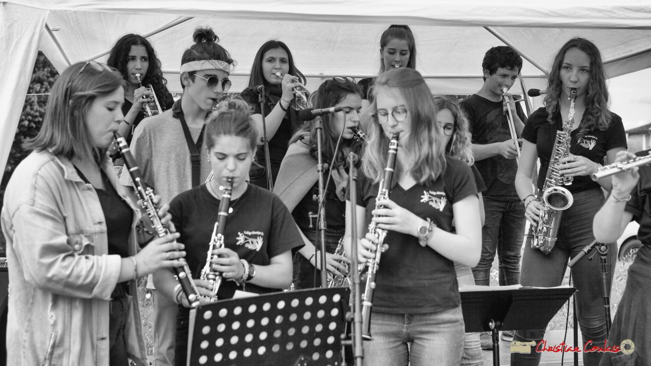 Les cuivres du Big Band Jazz du collège Eléonore de Provence (Monségur) conduit par Rémi Poymiro. Festival JAZZ360 2018, Cénac. 08/06/2018