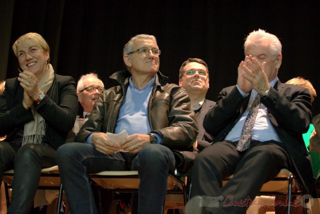 """Isabelle Dexpert, Bernard Castagnet, Philippe Madrelle. Meeting """"Majorité départementale"""" aux élections départementales de la Gironde, Blasimon, 9 mars 2015"""