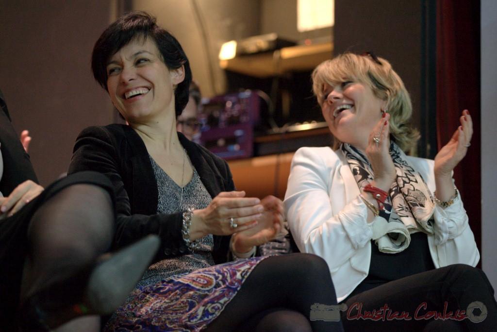 """Emmanuelle Ajon, Marie Récaldé. Meeting """"Majorité départementale"""" aux élections départementales de la Gironde, Blasimon, 9 mars 2015"""
