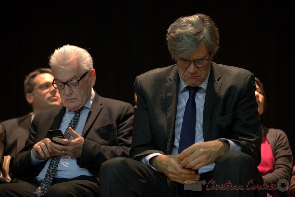 """Philippe Madrelle, Stéphane Le Foll. Meeting """"Majorité départementale"""" aux élections départementales de la Gironde, Blasimon, 9 mars 2015"""