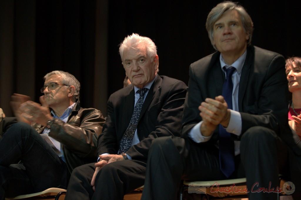 """Bernard Castagnet, Philippe Madrelle, Stéphane Le Foll. Meeting """"Majorité départementale"""" aux élections départementales de la Gironde, Blasimon, 9 mars 2015"""