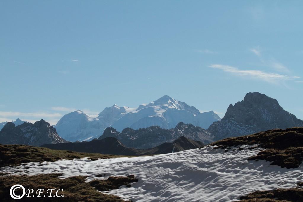 Le Mont  Blanc depuis le lac de Peyre