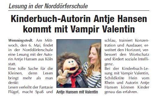 Vampir Valentin Lesung Antje Hansen in der Norddörferschule Sylt