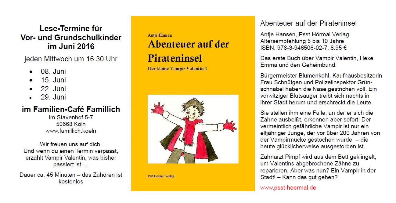 Kinderbuch-Lesung Antje Hansen und Vampir Valentin im Cafe Famillich Köln
