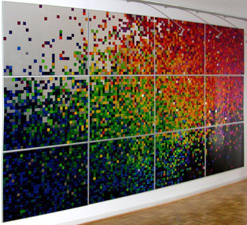 Nr.131  2006  Großer Verlauf  Druckfarbe auf Aluminium  210 x 400 cm