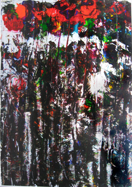 Nr.152  2008  ohne Titel  Druckfarbe auf Alumimium  100 x 70 cm