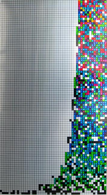 Nr. 161 2010  Entiers en 12 bases  encre d'imprimerie sur aluminium  100 x 55 cm