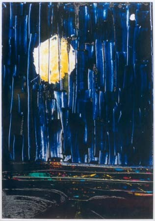 "Nr.034  1994  ""Grapefruit Moon, One Star Shining""  'from Tom Wait's ""Closing Time""  Druckfarbe auf Aluminium  100 x 70 cm"