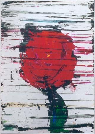 Nr.080  1999  Rose  Druckfarbe auf Aluminium  100 x 70 cm