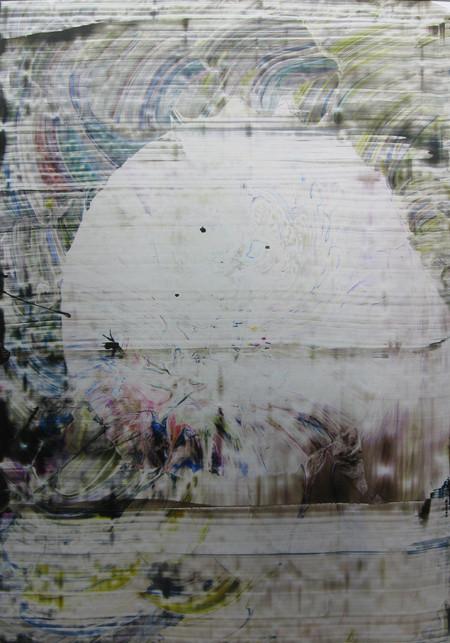 Nr.160  2010  Materialkomplement zu Nr.159  Druckfarbe auf Aluminium  100 x 70 cm