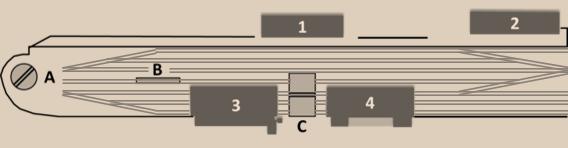 Provisorischer Bahnhof 1854: Aufnahmegebäude (1); Güterschuppen (2); Lokremise (3); Wagenremise (4); Drehscheibe (A); Untersuchungsgrube (B); Schiebebühne (C)