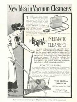 Cartellone pubblicitario del 1910 di Regina, una diretta concorrente di Hoover (Credits per la foto: The National Geographic Magazine/ Wikipedia)