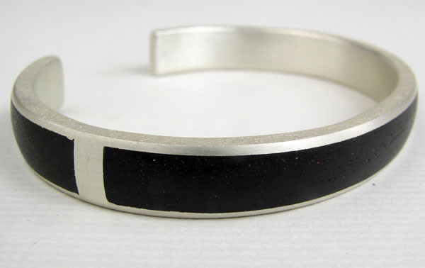 Ebony cuff bangle, silver