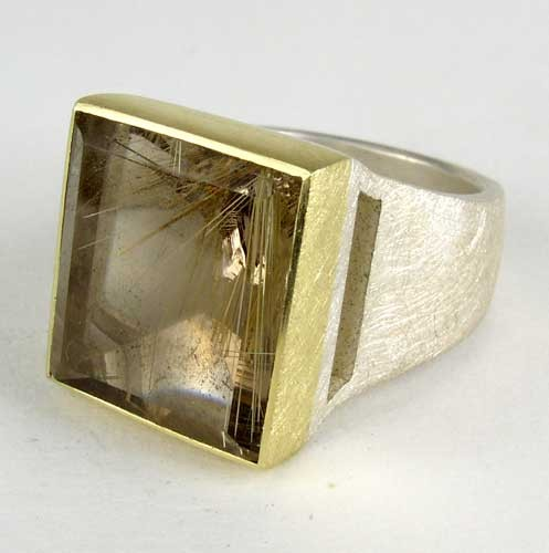 Rutilated quartz ring, 18ky, sterling