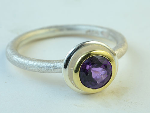 Amethyst, 18KY, sterling