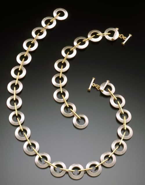 Cirlces and Squares, necklace & bracelet, 18ky, sterling
