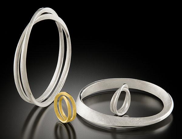 Möbius bangles, rings, 18KY, sterling