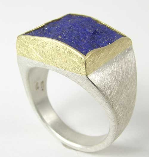 Rough-cut lapis ring, 18ky, sterling