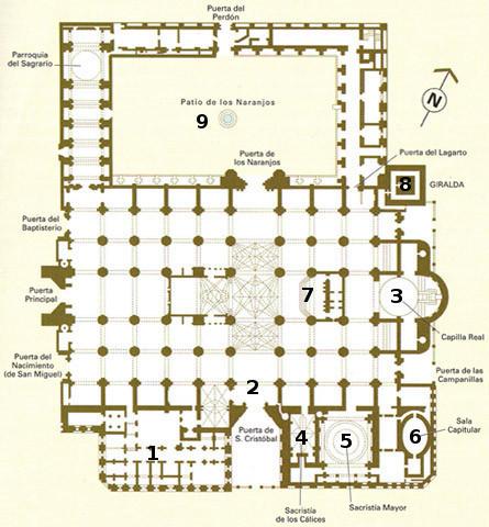 Plan de la Cathédrale de Séville.