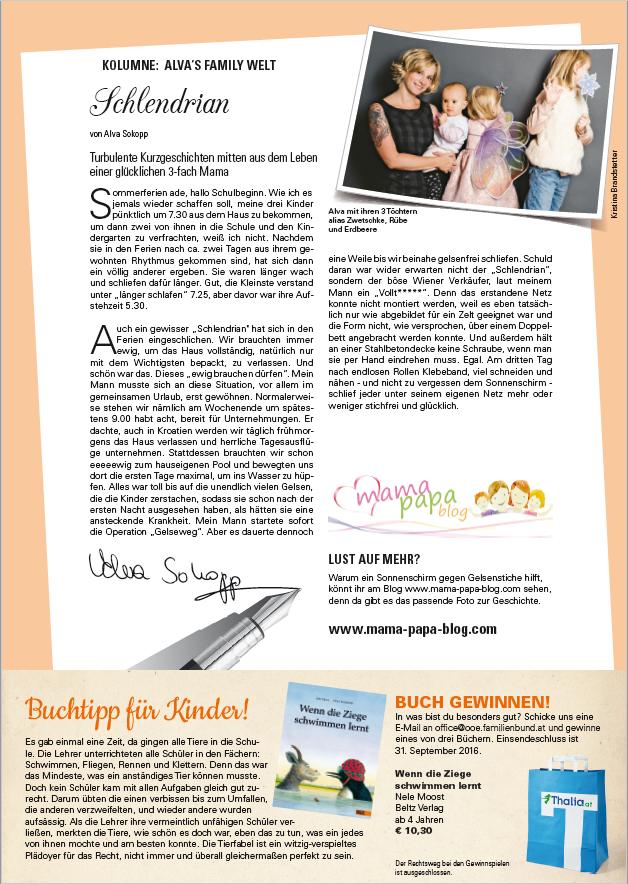 Alva Sokopp schreibt für den OÖ Familienbund im Magazin FAM:Schlendrian