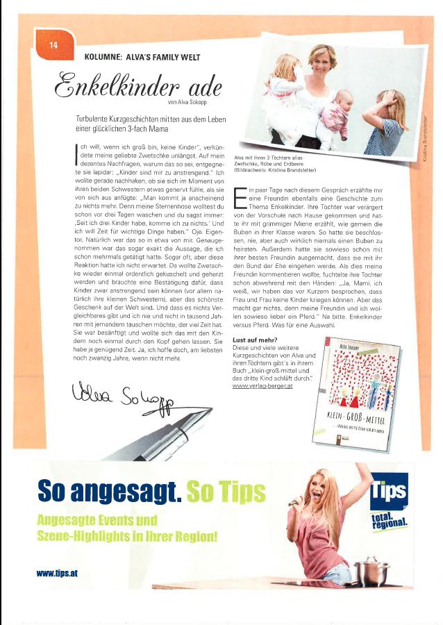 Alva Sokopp schreibt für den OÖ Familienbund im Magazin FAM: Enkelkinder Adé