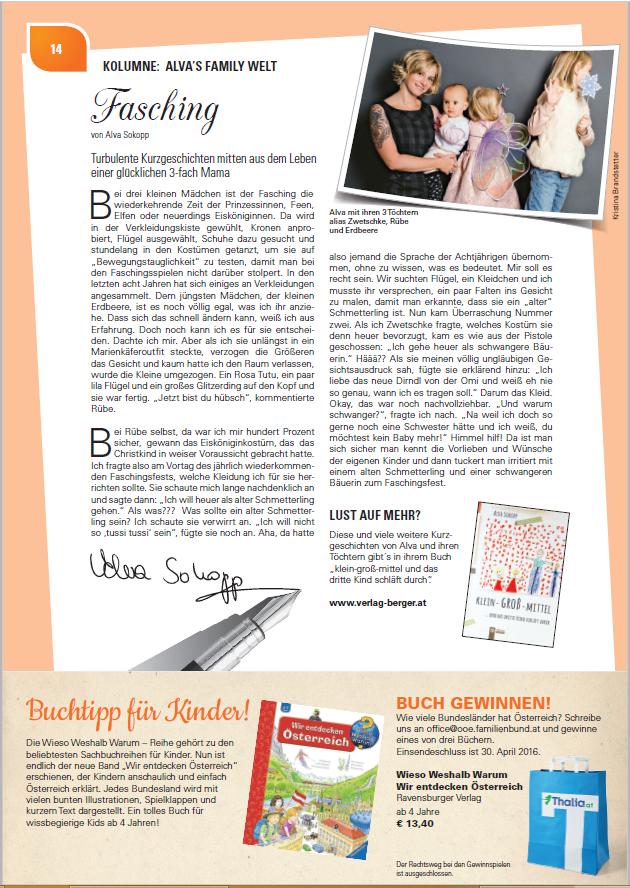 Alva Sokopp schreibt für den OÖ Familienbund im Magazin FAM: Fasching