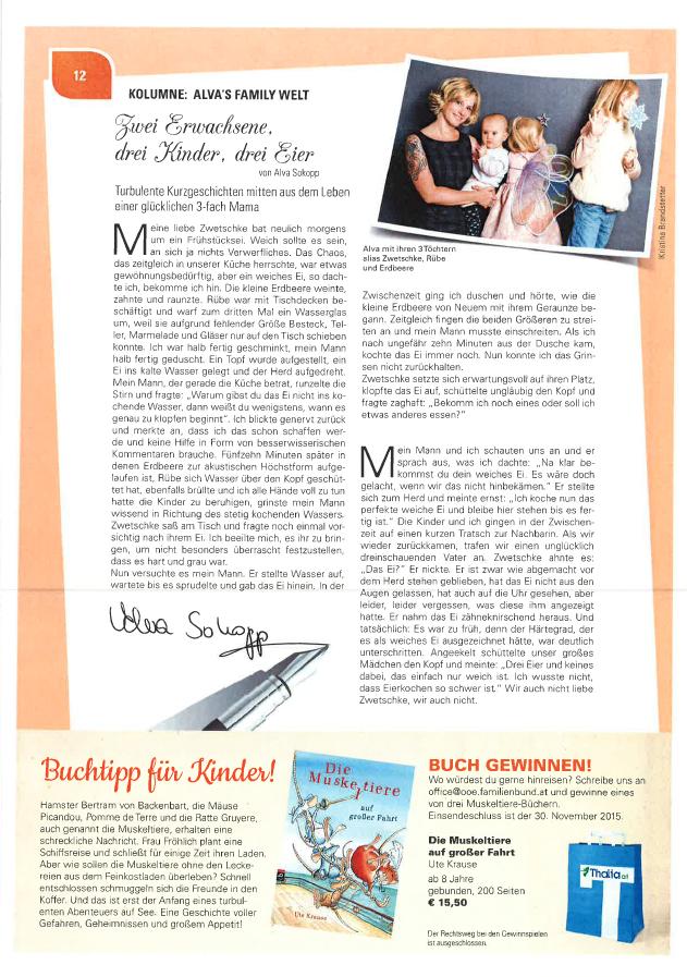 Alva Sokopp schreibt für den OÖ Familienbund im Magazin FAM: Zwei Erwachsene, drei Kinder, drei Eier