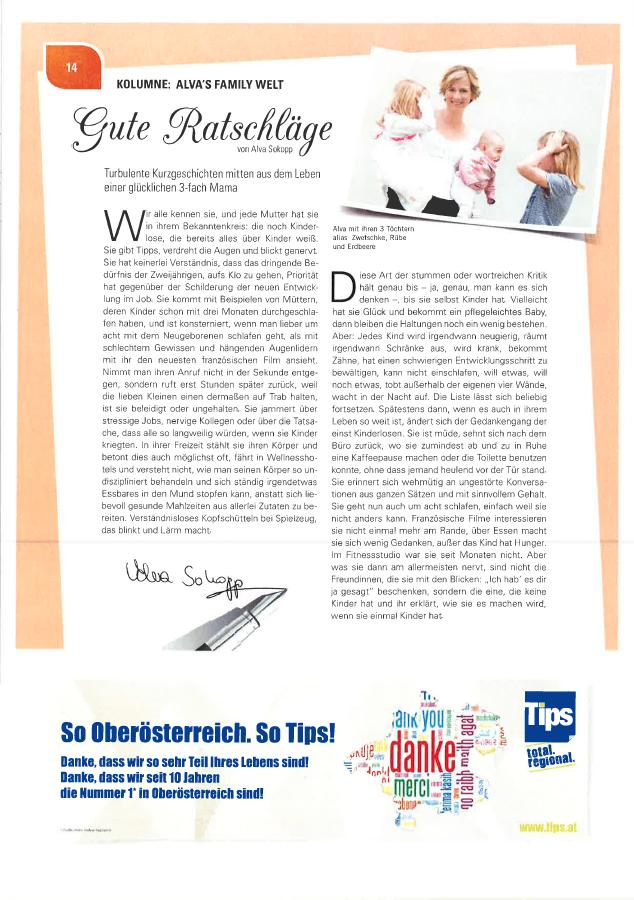 Alva Sokopp schreibt für den OÖ Familienbund im Magazin FAM: Gute Ratschläge
