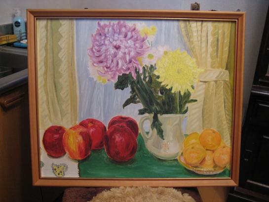 《リンゴ、花、ミカン》(1986) 縦:52センチ、横:60センチ