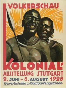 1928年にドイツのシュトゥットガルトで行われた人間動物園のポスター