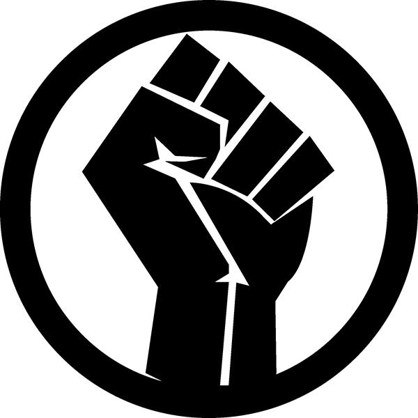 黒い握りこぶしがBLMの象徴とされている。