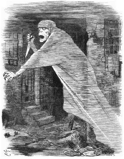 切り裂きジャックは、1888年の漫画誌『パンチ』で、ホワイトチャペルをうろつく幻、または社会的ネグレクト体現として、また社会的無視の体現者として描かれた。