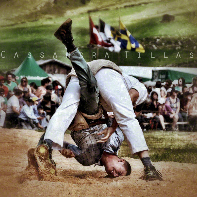Schwingen! Traditional Swiss wrestling. Many small tournaments take place in the summer and early fall. The winner of the national tournament, which takes place every three years, brings home a prize bull.
