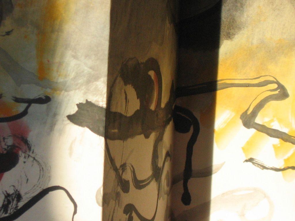 Aquarelle et encre sur papier chinois monté sur forme de paravent