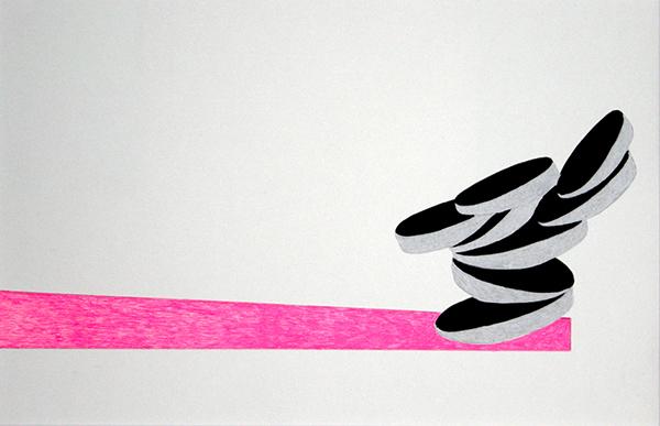 Figur 1, 2014, Filzstift und Lackstift auf Papier, 40 x 30 cm
