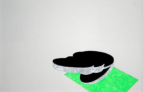 Figur 2, 2014, filzstift und Lackstift auf Papier, 40 x 30 cm