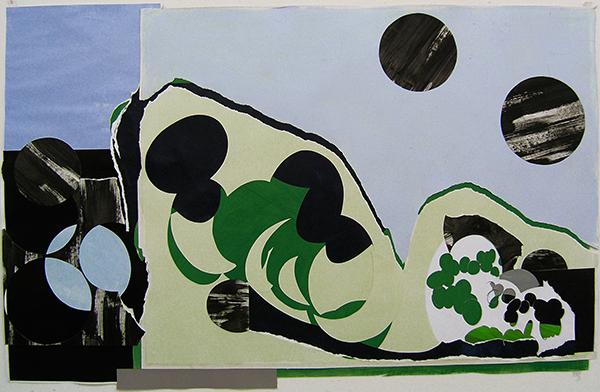 Kleeulme 8, 2008, Acryl auf Papier, 149 x 96 cm