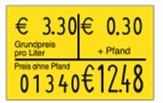 Preisetikett 26x16 zur Pfandkennzeichnung, leucht-gelb mit Pfandaufdruck
