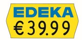 Etikett 26x12, passend für Meto ProLine oder Meto Eagle S,  contact S, oder Jolly JC, gelb, mit Sonderdruck Edeka