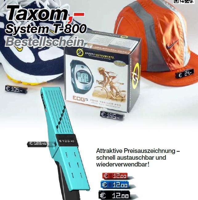 TAXOM System 800 Frontseite Bestellschein