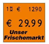 Preisetikett 29x28, orange, mit Logo-Vordruck und Grundpreisauszeichnung für contact und Meto Eagle / ProLine bzw. Blitz XL