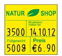 Preisetikett XL 29x28 mit Vordruck Logo, mhd, Füllgewicht und Preis