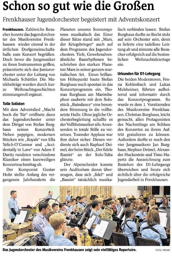 Westfalenpost, 29. Dezember 2014