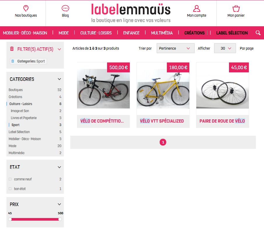 vente de vélos d'occasion chez label emmaus
