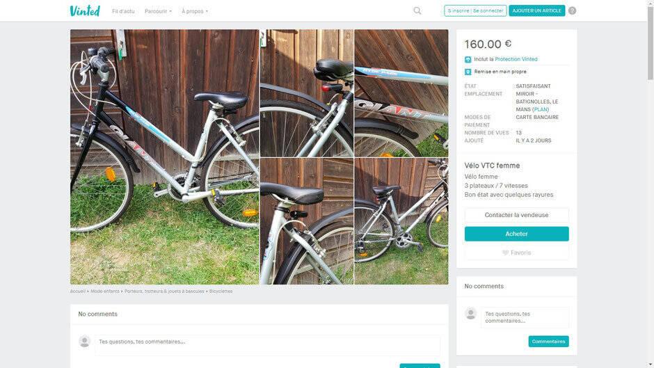 Annonce vélo d'occasion sur vinted.fr