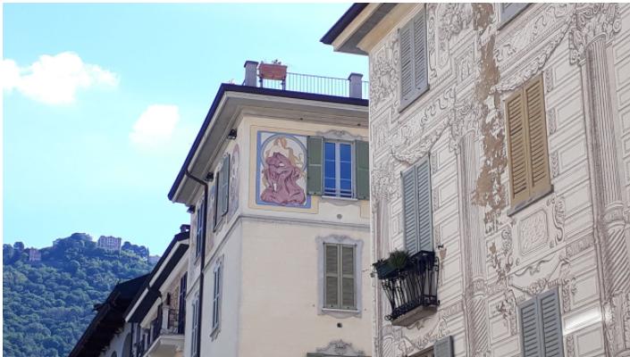 fresque des immeubles de come italie
