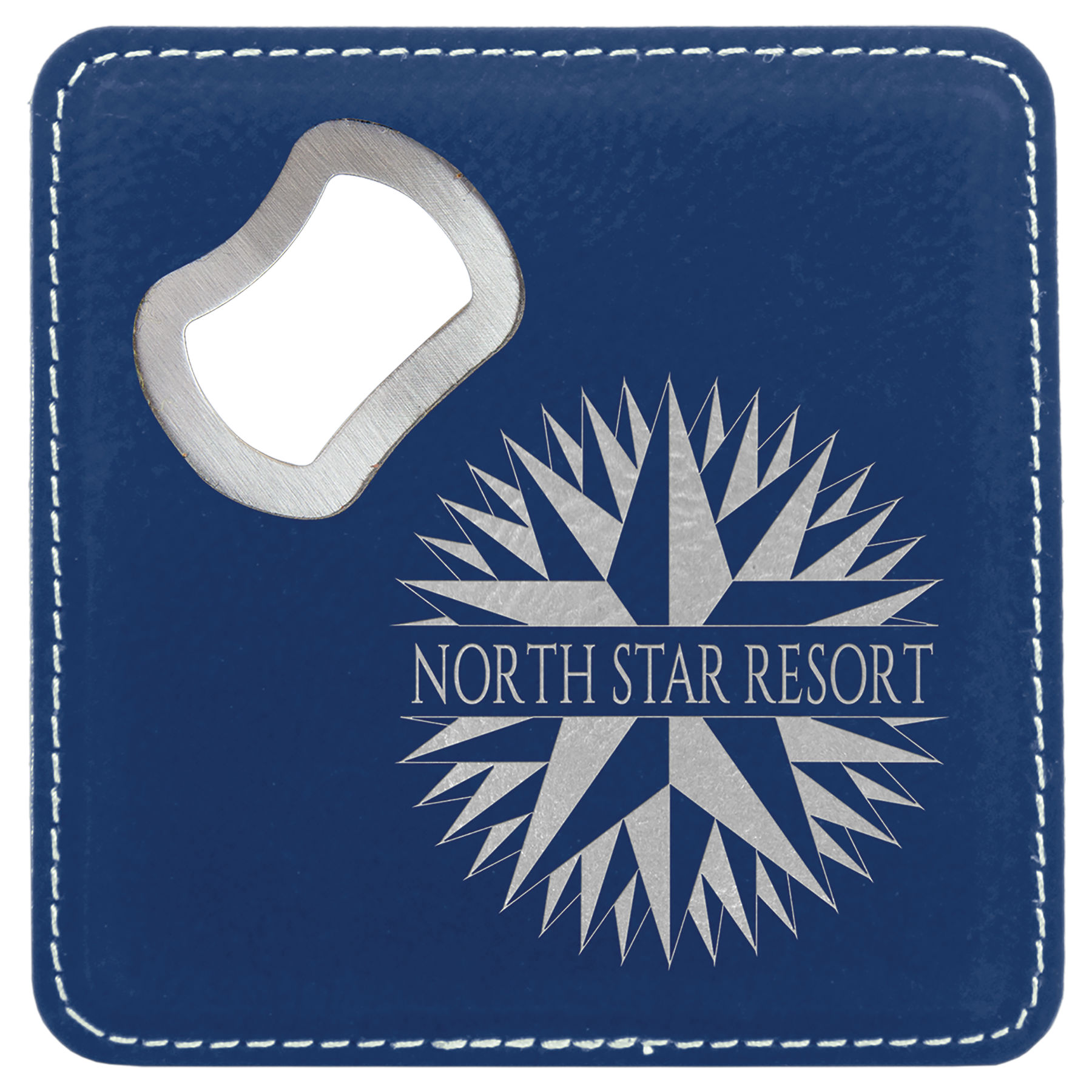 Blue/Silver Bottle Opener Coaster