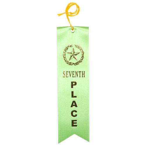 Seventh Place Ribbon - Light Green w/Gold Foil